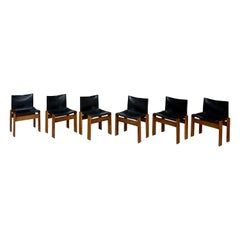 "Afra & Tobia Scarpa ""Monk"" Dining Chairs for Molteni, 1973, Set of 6"