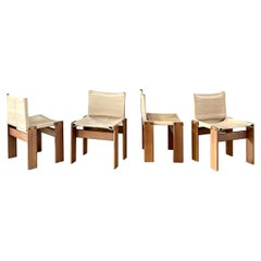 Afra & Tobia Scarpa 'Monk' Dining Chairs for Molteni, 1974, Set of 4