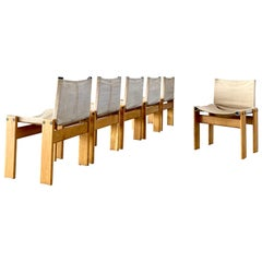 "Afra & Tobia Scarpa ""Monk"" Dining Chairs for Molteni, 1974, Set of 6"