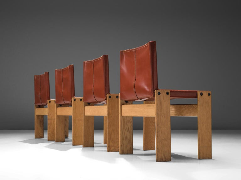 Mid-Century Modern Afra & Tobia Scarpa 'Monk' Set of Four Chairs in Red Leather For Sale