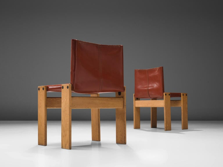Italian Afra & Tobia Scarpa 'Monk' Set of Four Chairs in Red Leather