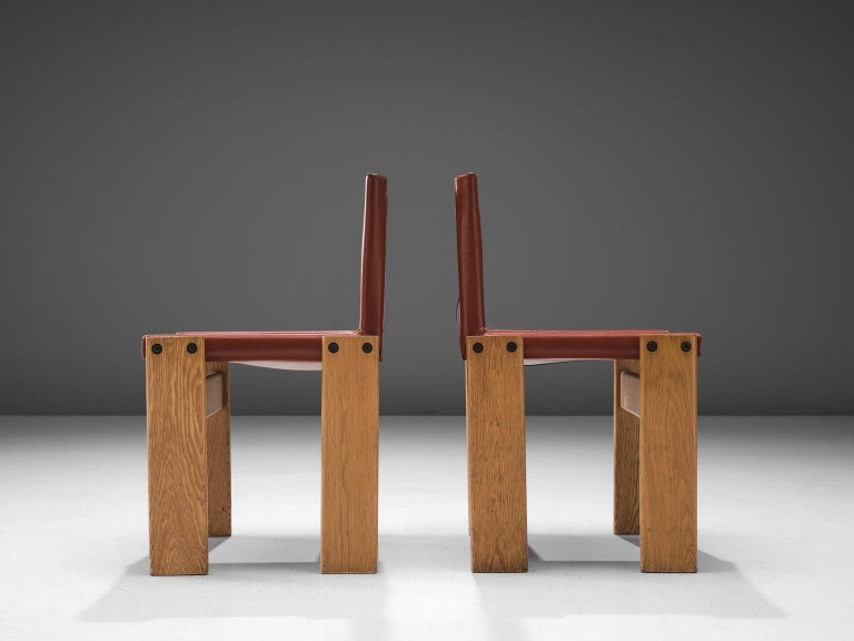 Patinated Afra & Tobia Scarpa 'Monk' Set of Four Chairs in Red Leather For Sale