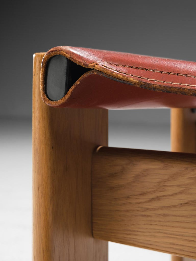 Late 20th Century Afra & Tobia Scarpa 'Monk' Set of Four Chairs in Red Leather For Sale