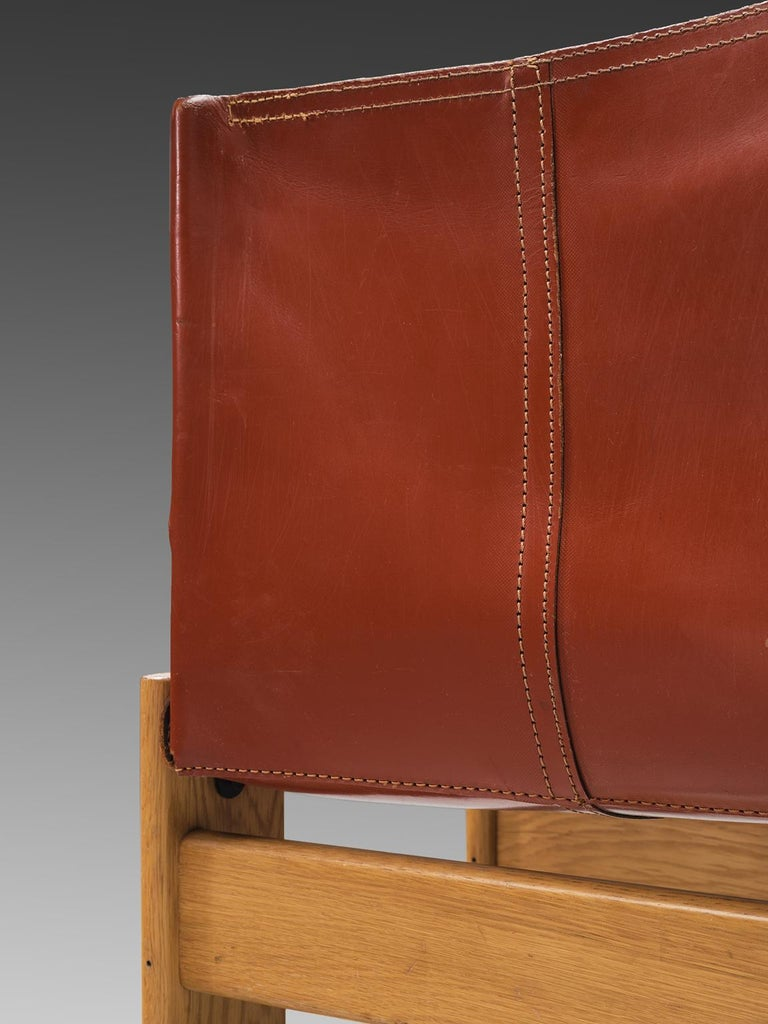 Ash Afra & Tobia Scarpa 'Monk' Set of Four Chairs in Red Leather For Sale
