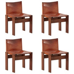 Afra & Tobia Scarpa Monk Set of Four Tan Chairs for Molteni, Italy, 1974