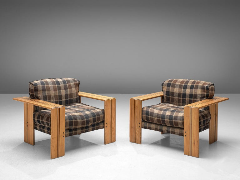 Afra & Tobia Scarpa for Maxalto, set of two 'Artona' armchairs, walnut and brown-blue checkered fabric, Italy 1975.