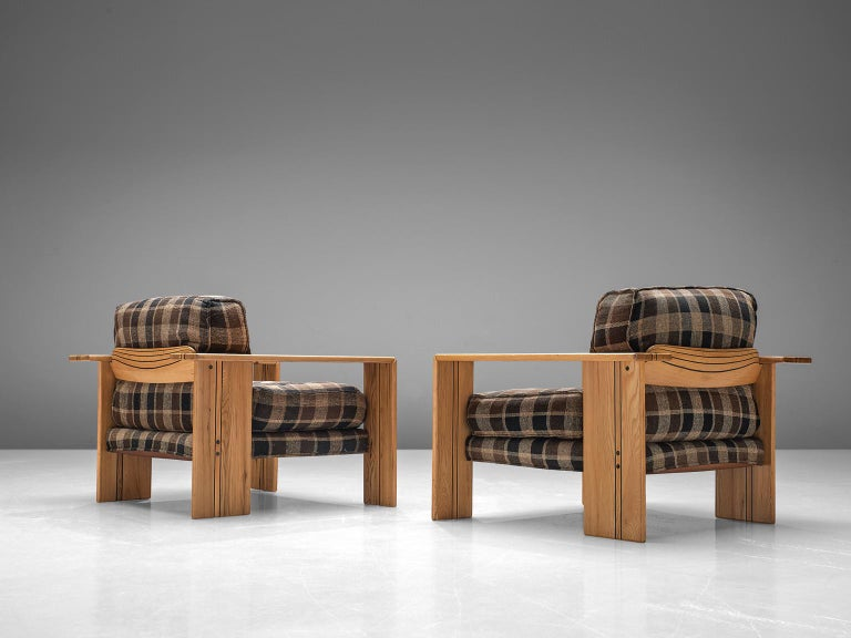 Italian Afra & Tobia Scarpa Pair of 'Artona' Lounge Chairs in Walnut
