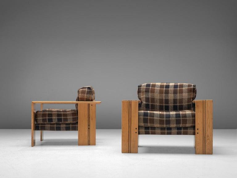 Fabric Afra & Tobia Scarpa Pair of 'Artona' Lounge Chairs in Walnut