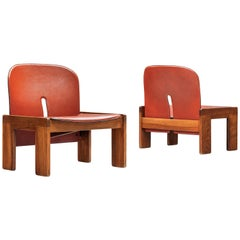 Afra & Tobia Scarpa Pair of Lounge Chairs Model '925' in Walnut and Red Leather