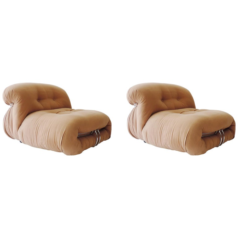 """Afra & Tobia Scarpa Pair of """"Soriana"""" Lounge Chairs, Italy, 1970s For Sale"""