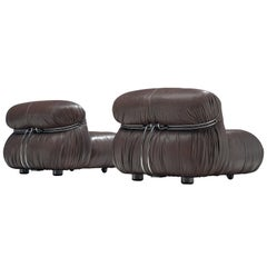 Afra & Tobia Scarpa Pair 'Soriana' Lounge Chairs in Chocolate Brown Leather