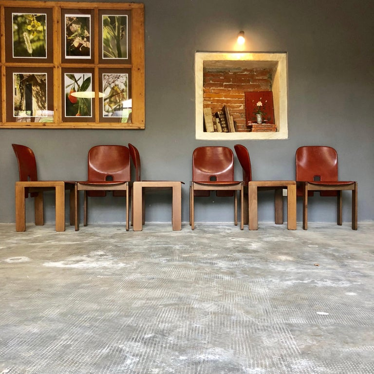 Mid-Century Modern Afra & Tobia Scarpa Red Leather