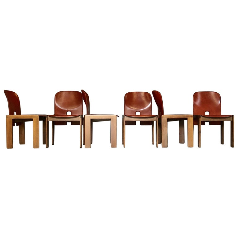 """Afra & Tobia Scarpa Red Leather """"121"""" Dining Chairs for Cassina, 1968, Set of 6 For Sale"""