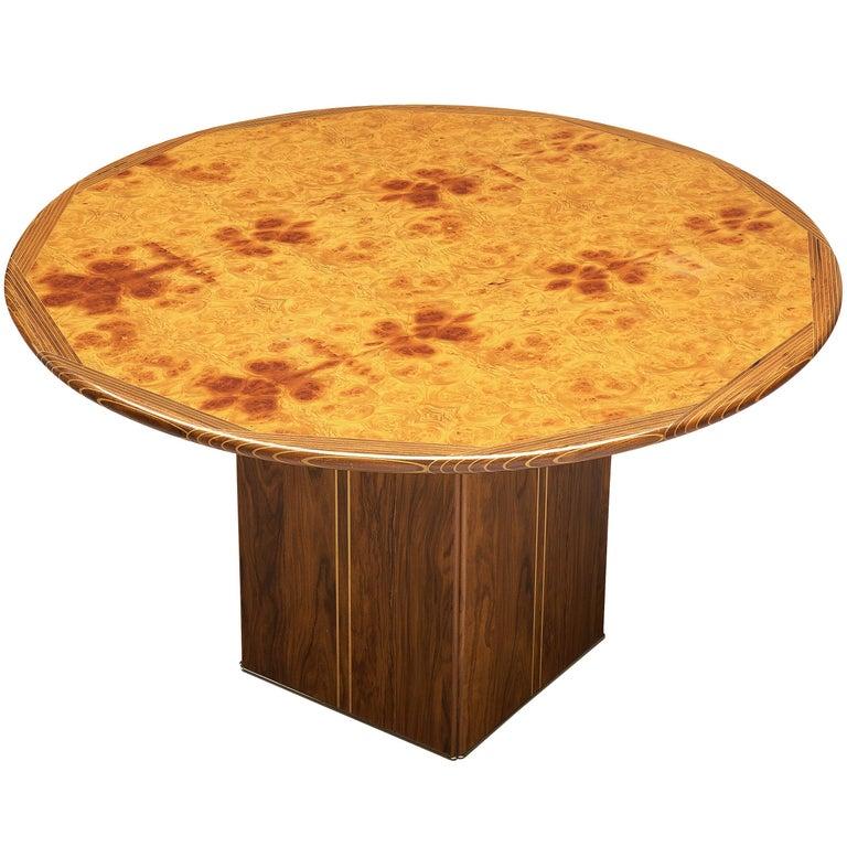 Afra & Tobia Scarpa Round Dining Table 'Artona' in Walnut For Sale