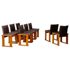 Afra & Tobia Scarpa Set Midcentury Chair for Molteni, Monk Series, 1970s