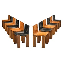 Afra & Tobia Scarpa Set of 12 'Monk' Dining Chairs in Black and Cognac Leather