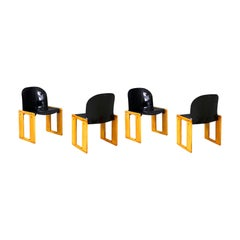 "Afra & Tobia Scarpa Set of 4 Dining Chairs Model ""Dialogo"" for B&B Italia, 1974"