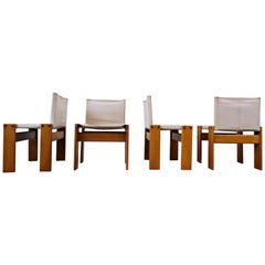 Afra & Tobia Scarpa Set of 4 'Monk' Dining Chairs with Canvas for Molteni
