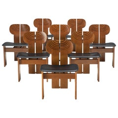 Afra & Tobia Scarpa Set of Eight 'Africa' Chairs in Walnut
