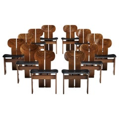 Afra & Tobia Scarpa Set of Eight Bicolor 'Africa' Dining Chairs