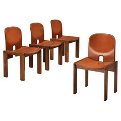 Afra & Tobia Scarpa Set of Four '121' Dining Chairs in Leather