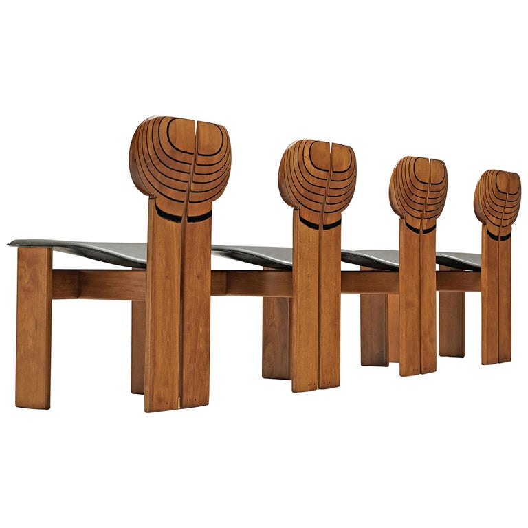 Afra and Tobia Scarpa Africa dining chairs, 1975, offered by MORENTZ