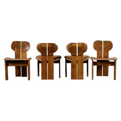 Afra & Tobia Scarpa Set of Four Africa Dining Chairs Maxalto Artona, 1970-80s