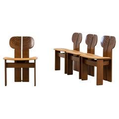 Afra & Tobia Scarpa Set of Four Africa Dining Chairs Maxalto Artona, 1970-80s
