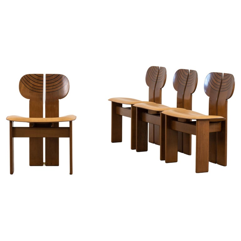 Afra & Tobia Scarpa Set of Four Africa Dining Chairs Maxalto Artona, 1970-80s For Sale