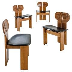Afra Tobia Scarpa Set of four Africa Dining Chairs Maxalto Artona, 1973s, Italy