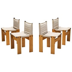 Afra & Tobia Scarpa Set of Four Dining Chairs Model 'Monk' in Canvas