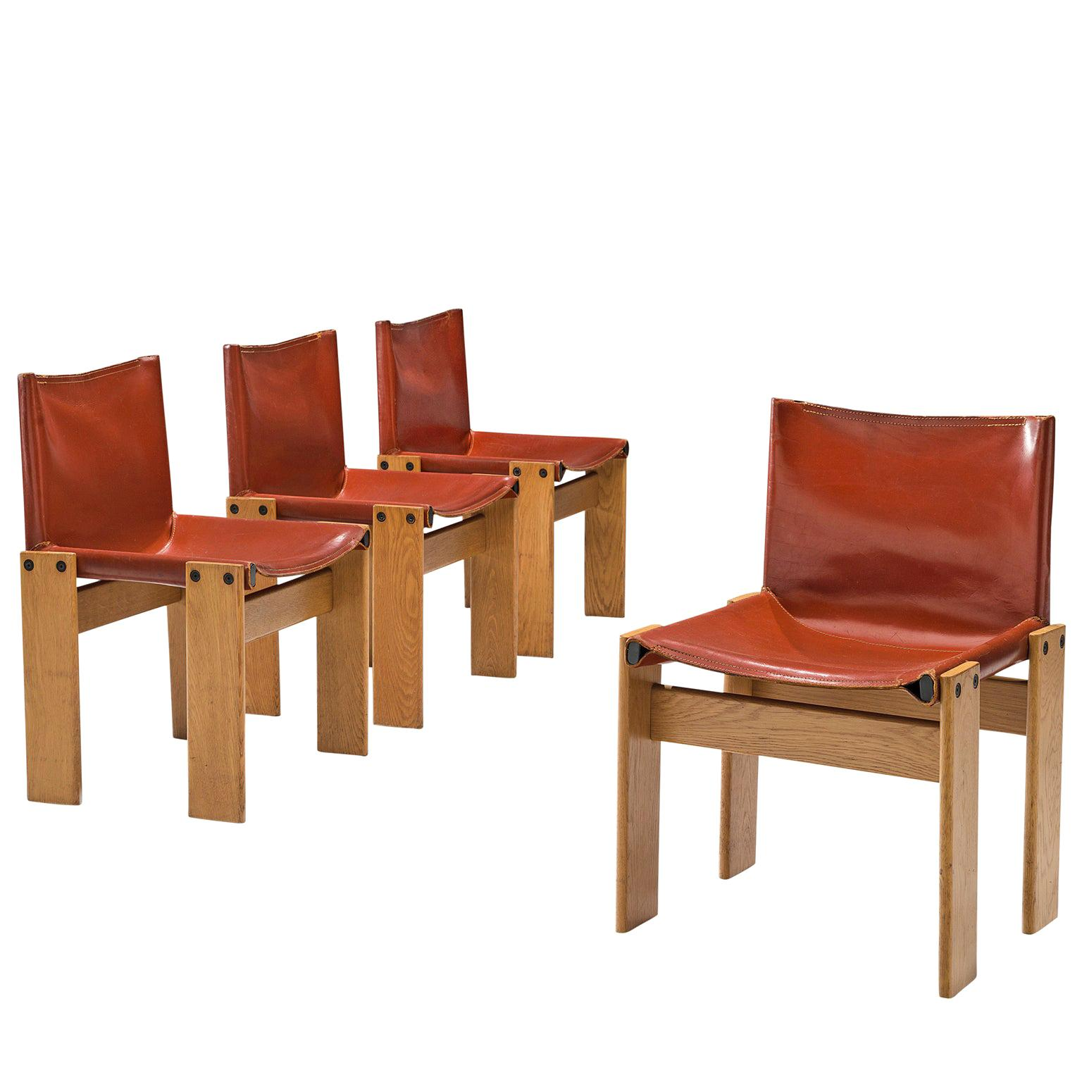 Afra & Tobia Scarpa Set of Four 'Monk' Dining Chairs in Red Leather