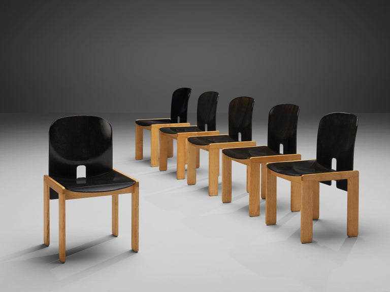 Afra and Tobia Scarpa for Cassina, set of six chairs model 121, black lacquered wood, birch, Italy, design 1965  Set of six chairs by the Italian designer couple Tobia and Afra Scarpa. These chairs have a cubic and architectural appearance. The base