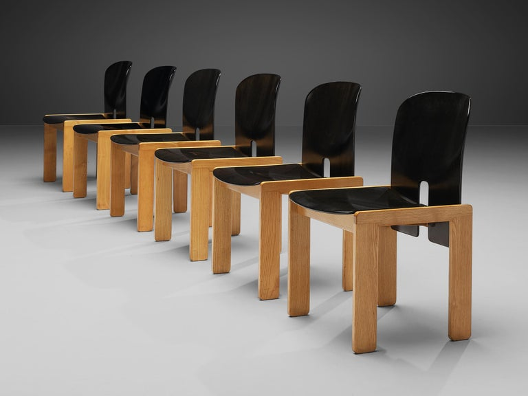 Mid-Century Modern Afra & Tobia Scarpa Set of Six '121' Dining Chairs For Sale
