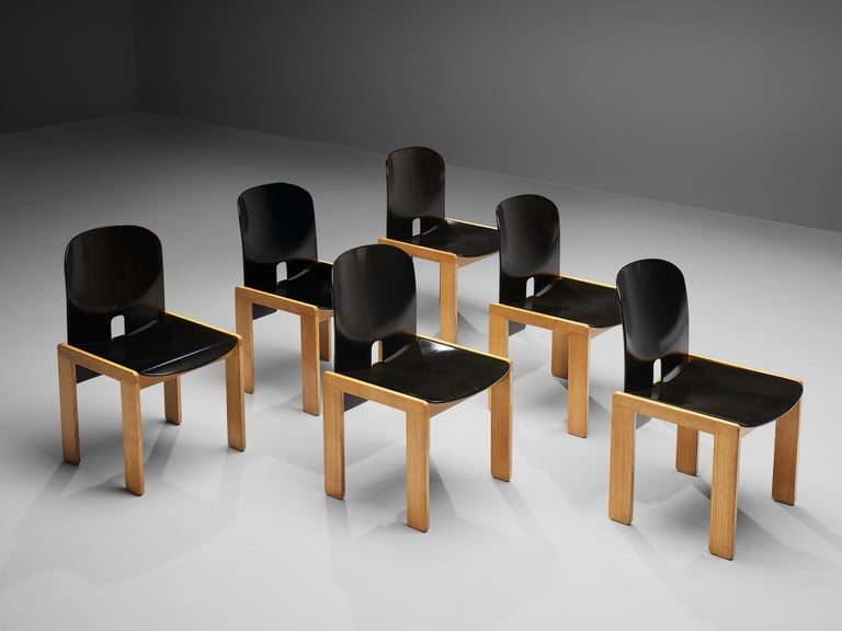 Italian Afra & Tobia Scarpa Set of Six '121' Dining Chairs For Sale