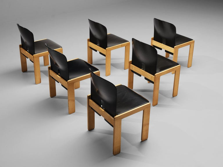 Afra & Tobia Scarpa Set of Six '121' Dining Chairs In Good Condition For Sale In Waalwijk, NL
