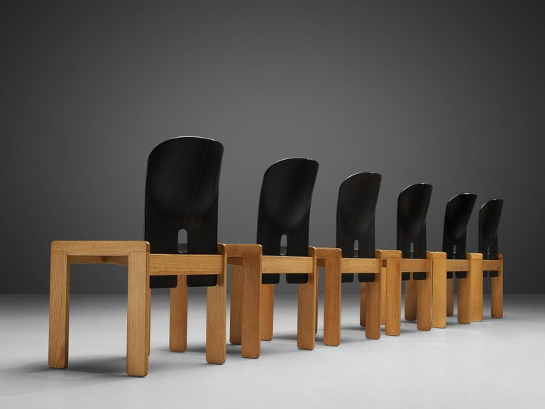 Late 20th Century Afra & Tobia Scarpa Set of Six '121' Dining Chairs For Sale