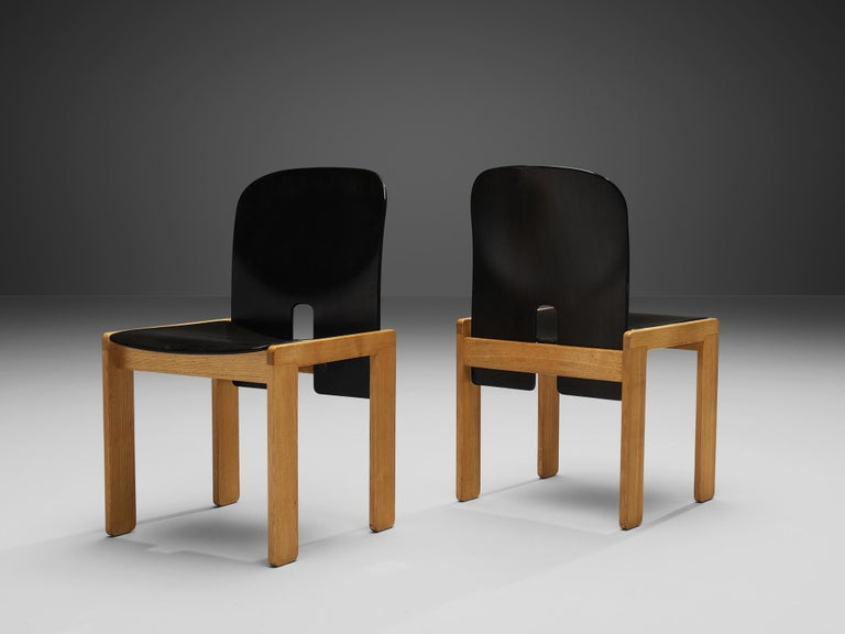 Leather Afra & Tobia Scarpa Set of Six '121' Dining Chairs For Sale