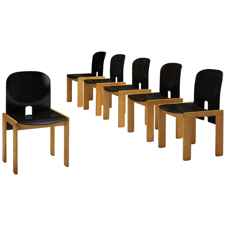 Afra & Tobia Scarpa Set of Six '121' Dining Chairs For Sale
