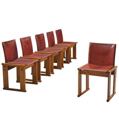 Afra & Tobia Scarpa Set of Six Dining Chair in Red Patinated Leather