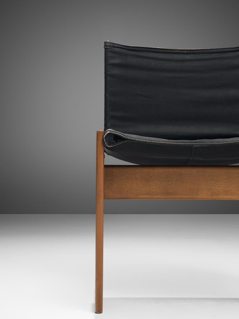 Afra & Tobia Scarpa Set of Six Monk Chairs in Black Canvas For Sale 6