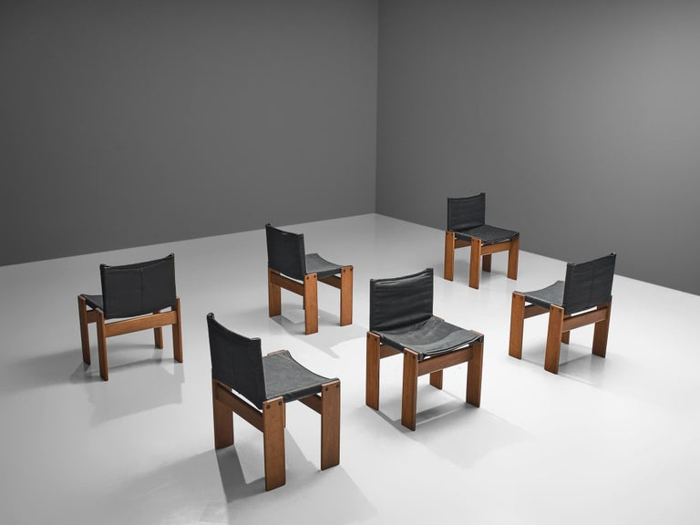 Mid-Century Modern Afra & Tobia Scarpa Set of Six Monk Chairs in Black Canvas For Sale