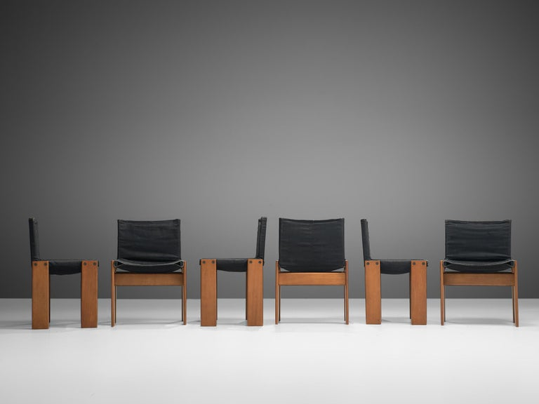 Italian Afra & Tobia Scarpa Set of Six Monk Chairs in Black Canvas For Sale