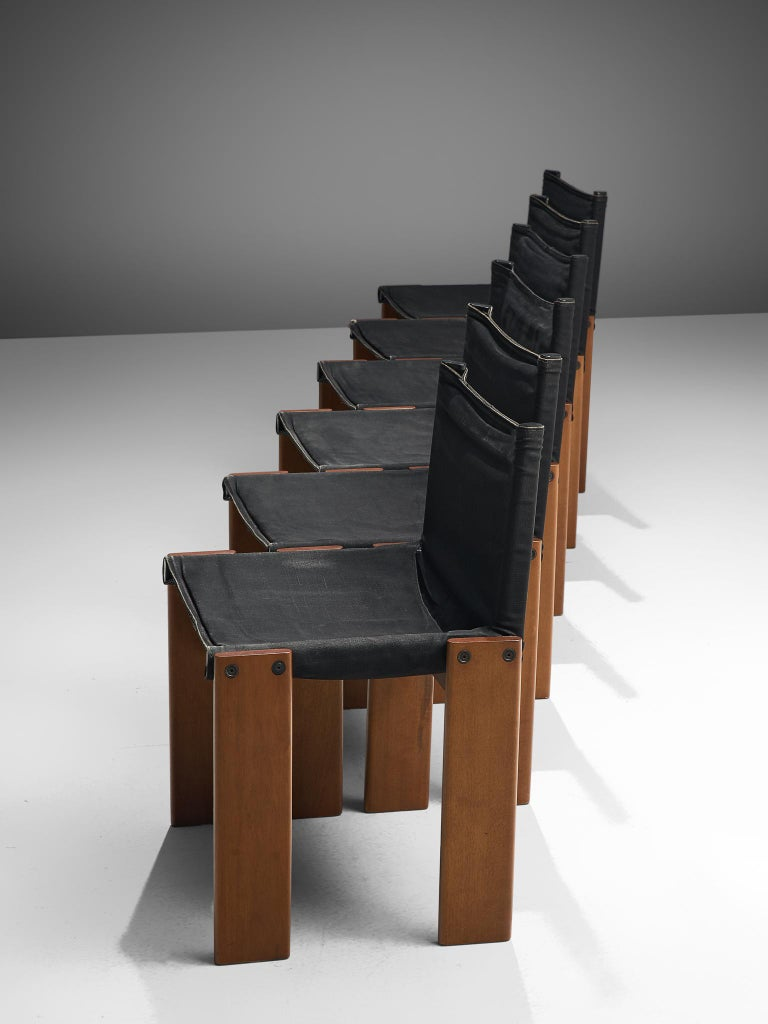 Late 20th Century Afra & Tobia Scarpa Set of Six Monk Chairs in Black Canvas For Sale
