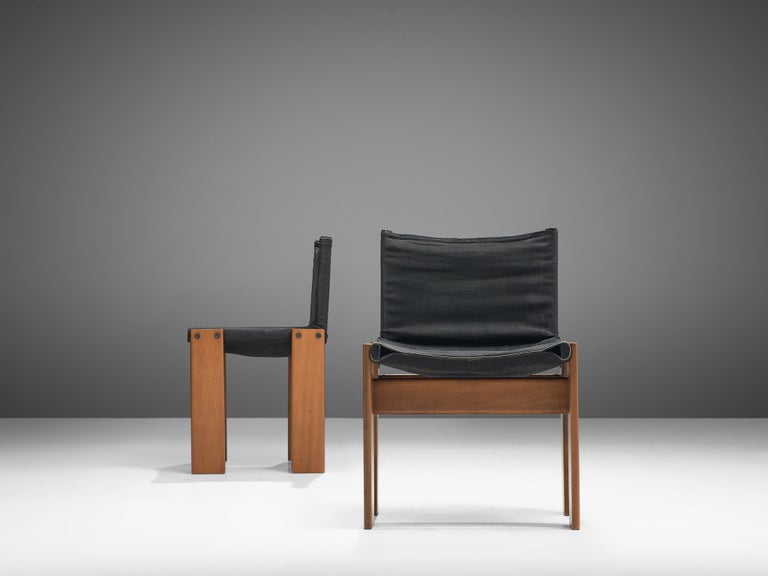 Afra & Tobia Scarpa Set of Six Monk Chairs in Black Canvas For Sale 1