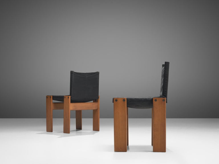 Afra & Tobia Scarpa Set of Six Monk Chairs in Black Canvas For Sale 2