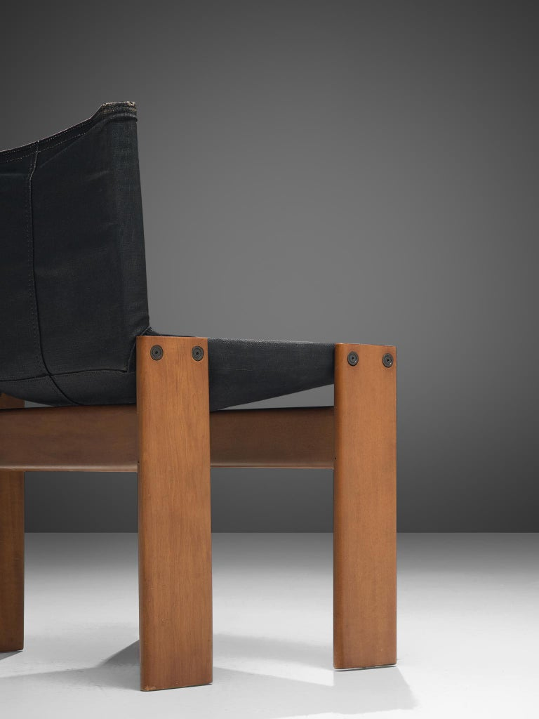 Afra & Tobia Scarpa Set of Six Monk Chairs in Black Canvas For Sale 3
