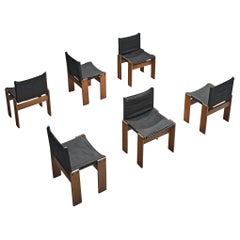 Afra & Tobia Scarpa Set of Six Monk Chairs in Black Canvas