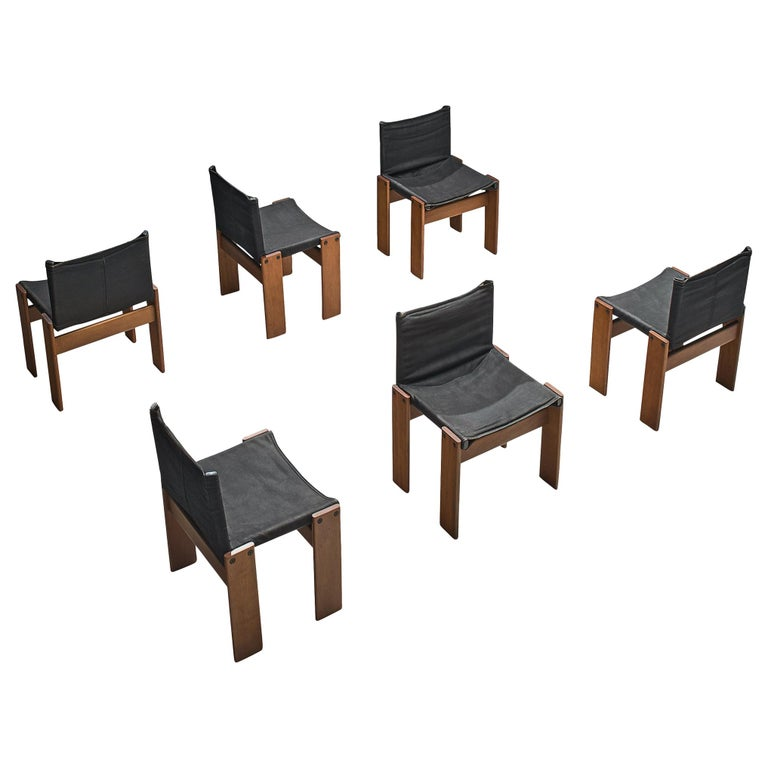 Afra & Tobia Scarpa Set of Six Monk Chairs in Black Canvas For Sale