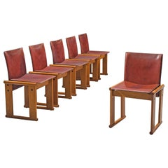 Afra & Tobia Scarpa Set of Six Dining Chairs in Red Patinated Leather